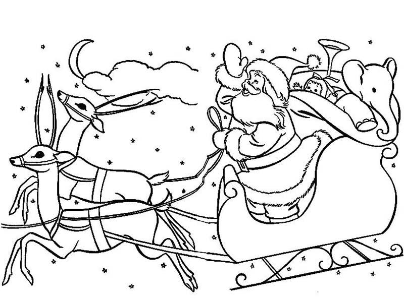 Tranh tô màu ông già Noel cưới tuần lộc trong đêm đi phát quà cho bé đẹp nhất