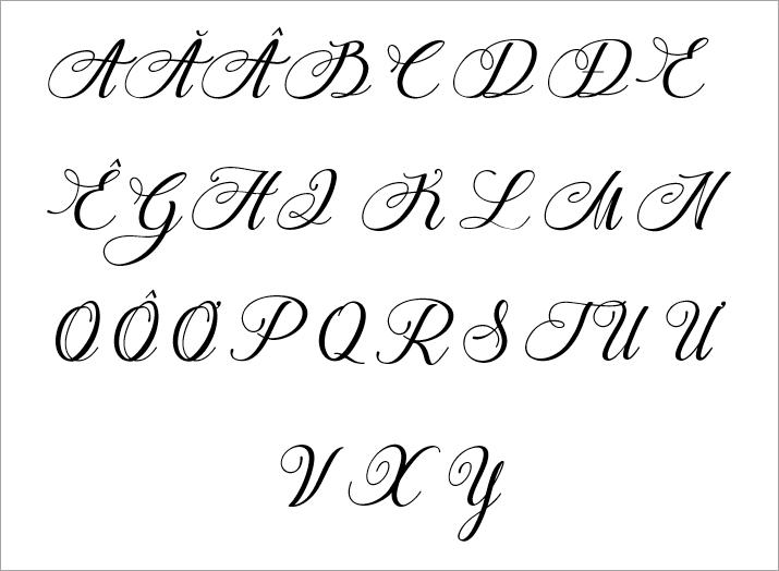 Bảng chữ cái viết hoa cách điệu đẹp