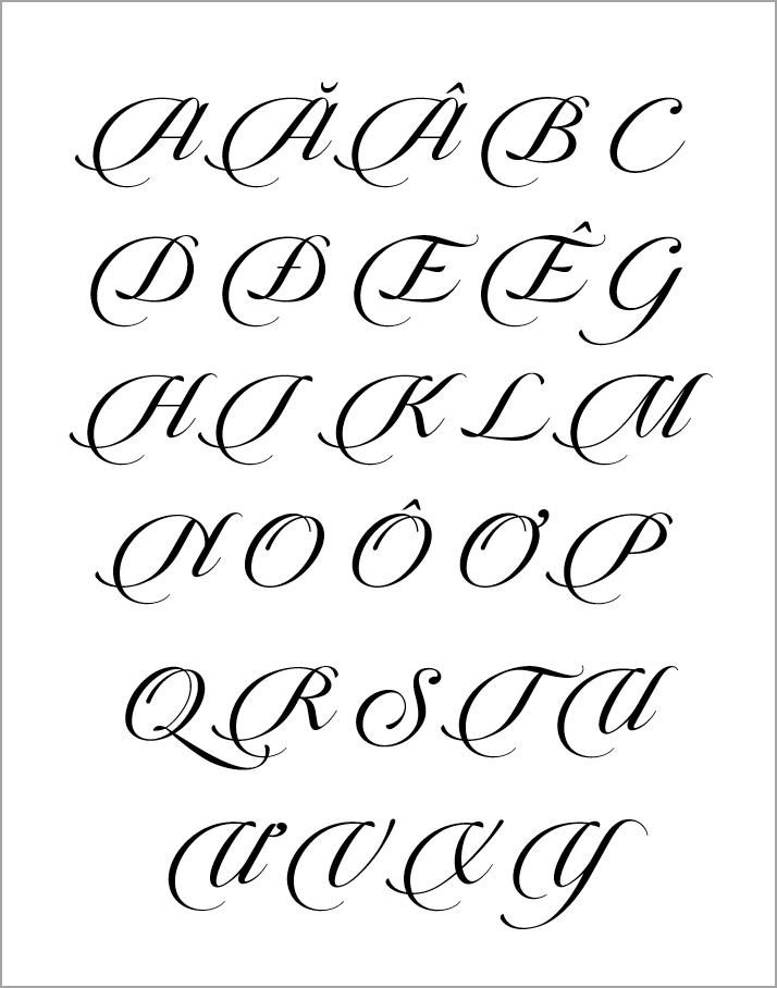 Bảng chữ cái viết hoa sáng tạo đơn giản