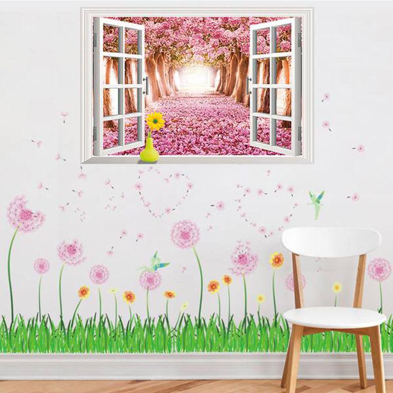 Tranh dán tường có hình ảnh hoa bồ công anh
